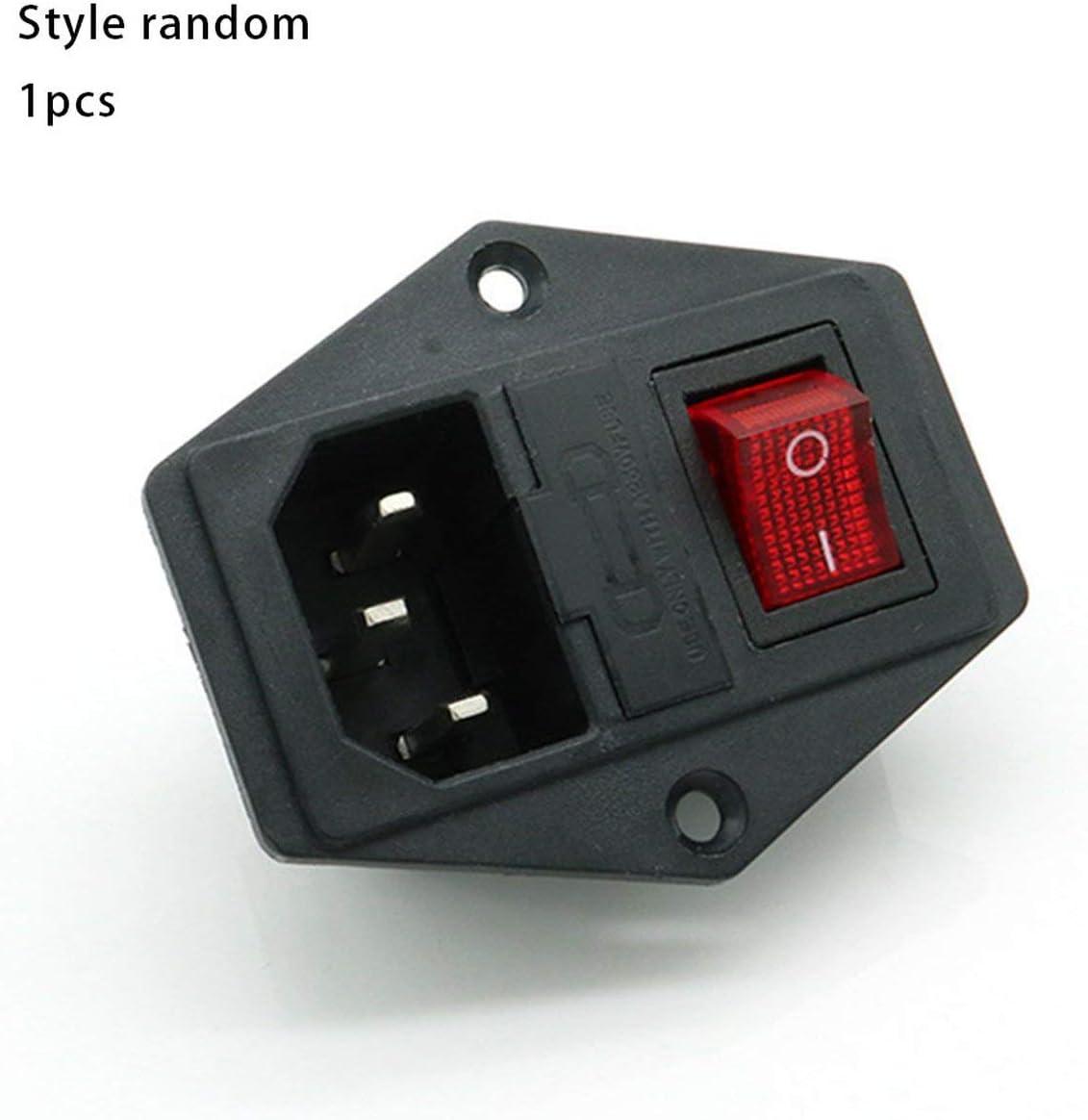 ESjasnyfall Interruptor de alimentaci/ón Toma de Corriente alterna de CA de 3 Pines con Interruptor de balanc/ín Triple Rojo Patas de Cobre del tr/ípode con Fusible de Impresora de protecci/ón 3D Negro