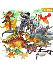 Estela Joylink - Juego de 17 Figuras de Dinosaurio realistas, Juguetes para Fiestas de cumpleaños Infantiles o decoración, los Cuatro pequeños Dinosaurios Son aleatorios