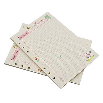 Zhi Jin 2 paquetes de papel de repuesto estándar A5 para cuaderno listas diario bitácora 90 páginas, color TODO Plan