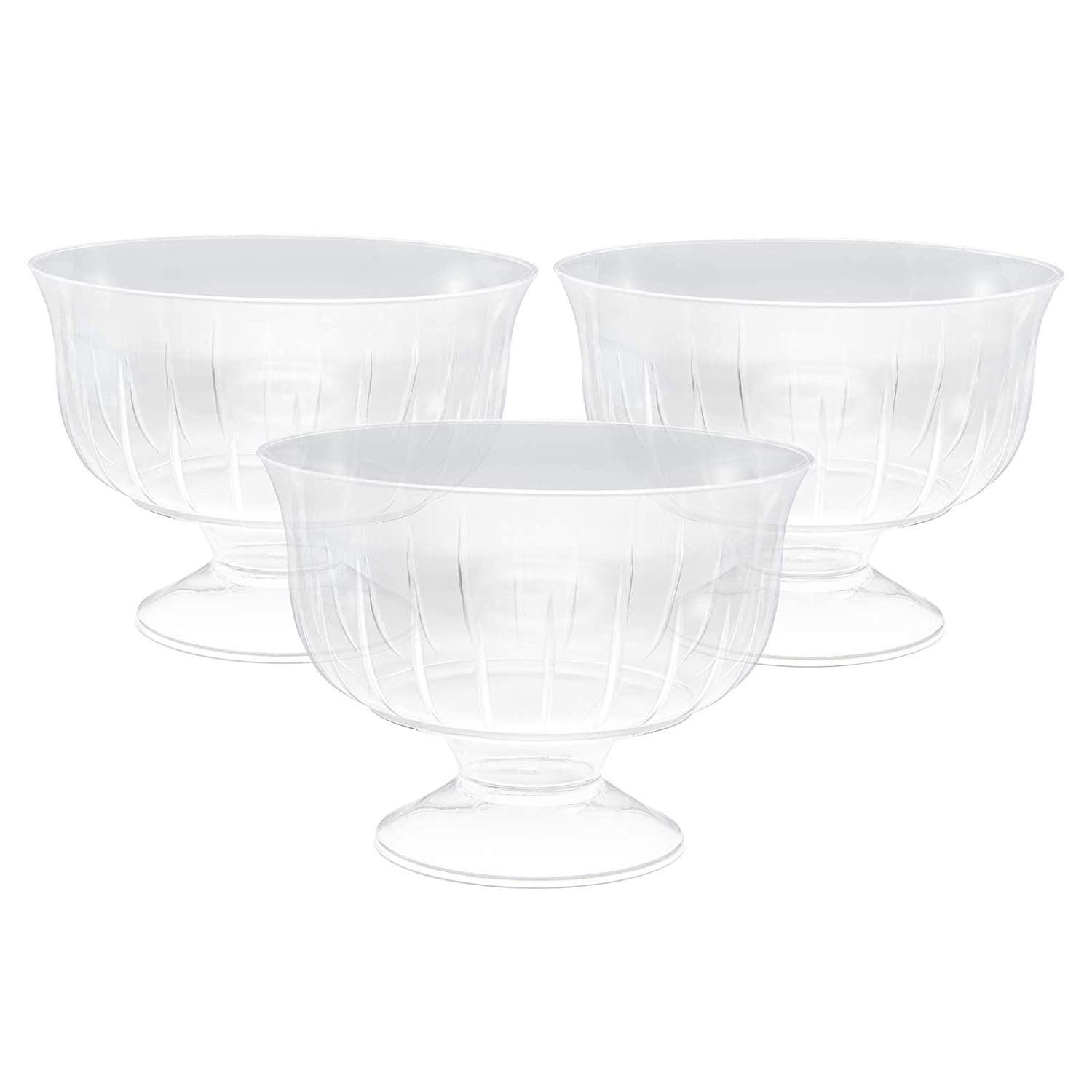 Clear Disposable Plastic Ice Cream Dessert Bowls/Dishes on Pedestal 30 Pack MASHERS