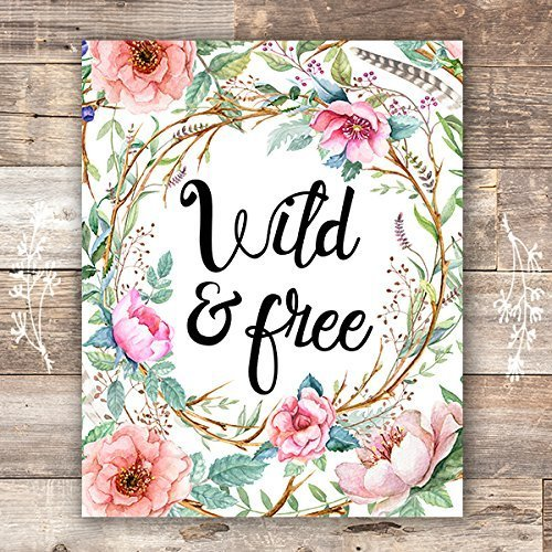 Art Print Free - Wild and Free Floral Wreath Art Print - Unframed - 8x10