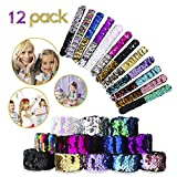 12 Pcs Mermaid Slap Bracelets Party Favors for Girls Kids, 2-Colors in 1 Reversible Charm Sequins Velet Flip Wristband Stylish Decor for Party Game Prize Goodie Bags Fillers