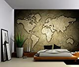 Picture Sensations Canvas Texture Wall Mural, Sepia Stone Texture World Map, Self-adhesive Vinyl Wallpaper, Peel & Stick Fabric Wall Decal - 144x96