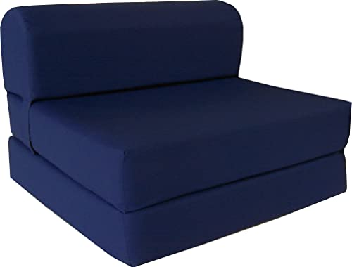 "D D Futon Furniture 6"" Thick X 36"" Wide X 70"" Long Twin Size Navy Sleeper Chair Folding Foam Bed 1.8lbs Density"