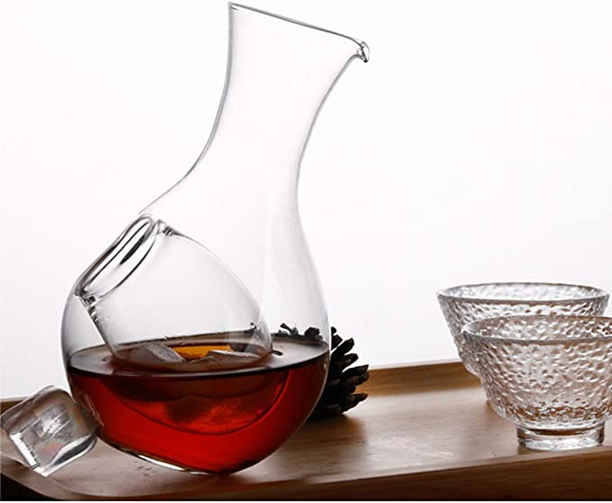 Wine and Juice Womdee Decanter with Ice Pocket Glass Sake Bottle with Hole for Whisky