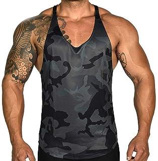 Annstar Mens Fitness Gym Muscular Vest Bodybuilding Camo Tank Tops Cool Dry Sport Sleeveless Vest Sportwear