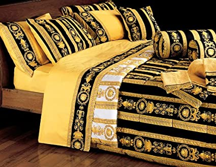 e643b6ae Versace King Size Comforter Bedding Set in Black and Gold ...