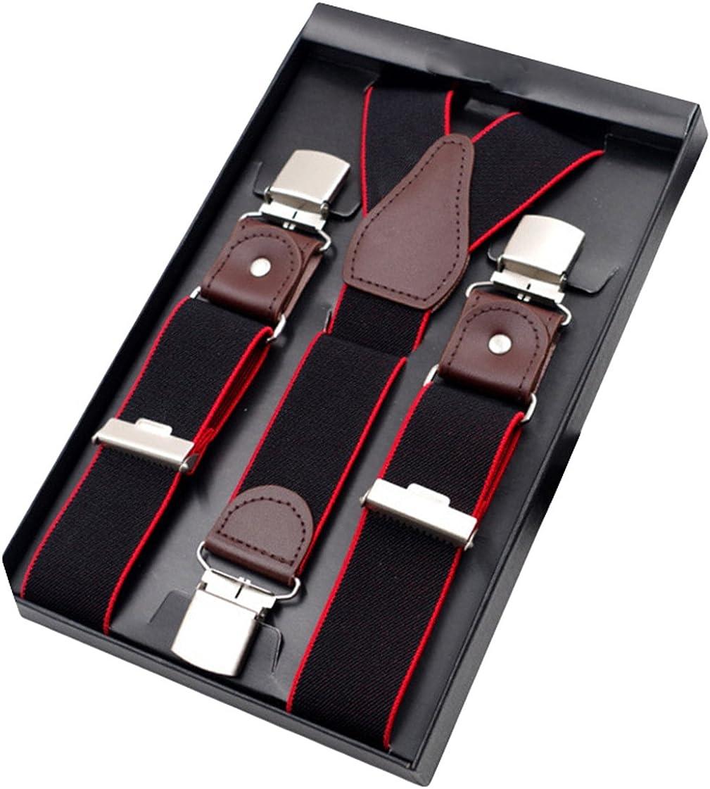 MENDENG Mens Blue White Polka Dot Suspenders 6 Strong Clips Adjustable Braces