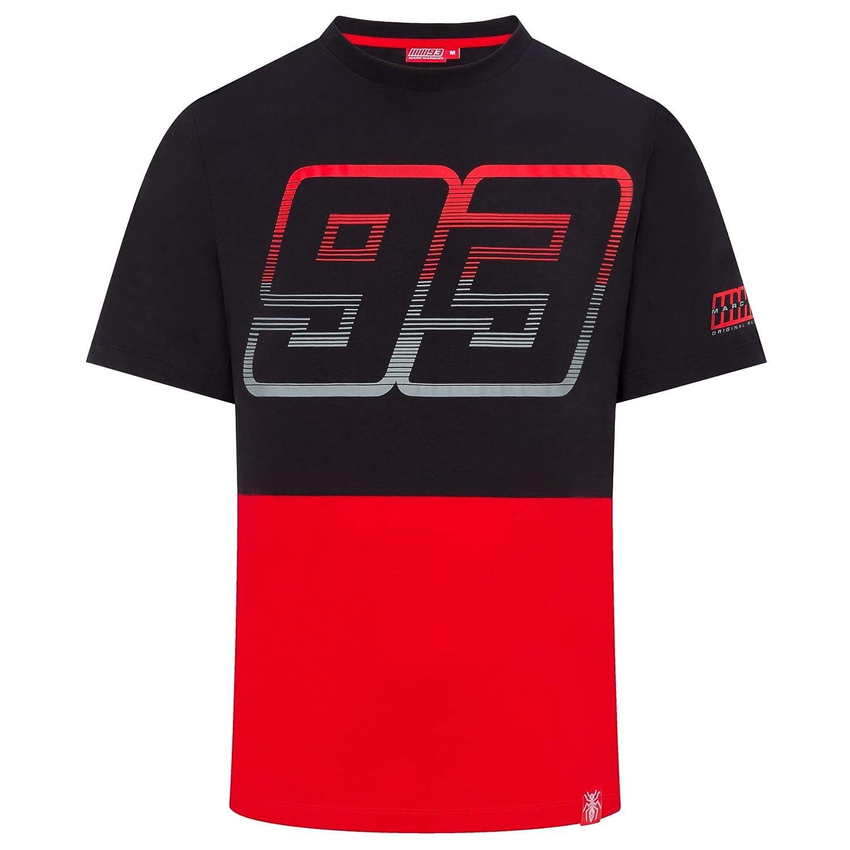 Marc Marquez 2019 MotoGP T-Shirt en Coton pour Homme avec Logo Contraste Yoke
