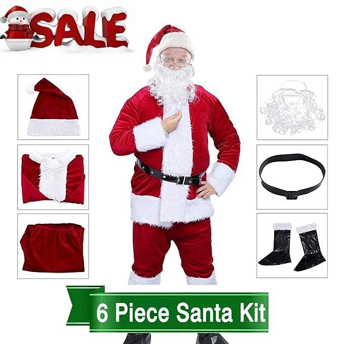 060740c4bb132 Amazon.com  Christmas Deluxe Santa Suit Santa Claus Costume Velvet Santa  Costume Set with Santa Hat Beard Belt for Boys and Men (Adult Burgundy Santa  Suit ...
