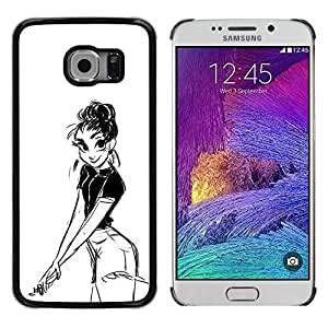 "For Samsung Galaxy S6 EDGE / SM-G925(NOT FOR S6) Case , Chica Dibujo al lápiz Sexy Look Shorts Big Eyes"" - Diseño Patrón Teléfono Caso Cubierta Case Bumper Duro Protección Case Cover Funda"