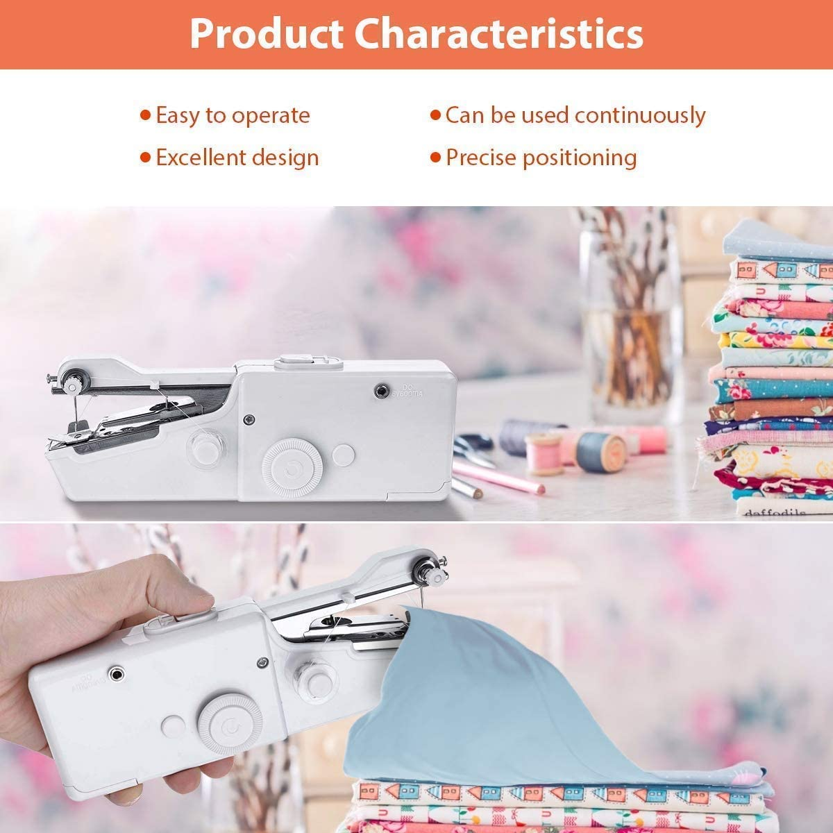 Handheld Sewing Machine Yibaision Portable Stitching Machine Cordless Craft Mini Beginner Sewing Machine Fit DIY Curtains Pet Clothes Home Travel with Extra Bobbin Needle and Threade