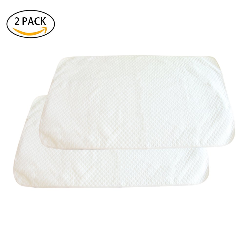 WATTA Waterproof Baby Crib Mattress Pad Protector, 17 x 13 Changing Pad Liners for baby Toddler Kids Pets, Soft and Smooth Surface, Hypoallergenic, Antibacterial and Non Toxic - 2-Pack, White
