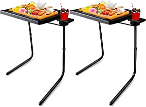 Mejerca Adjustable TV Tray Table Folding TV Dinner Tray with Cup Holder on Bed & Sofa, Comfortable Folding Table with 6 Height & 3 Tilt Angle (2 Pack Black)