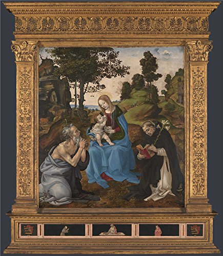 'Filippino Lippi The Virgin And Child With Saints Jerome And Dominic ' Oil Painting, 10 X 11 Inch / 25 X 29 Cm ,printed On Polyster Canvas ,this Vivid Art Decorative Canvas Prints Is Perfectly Suitalbe For Powder Room Gallery Art And Home Artwork And Gifts