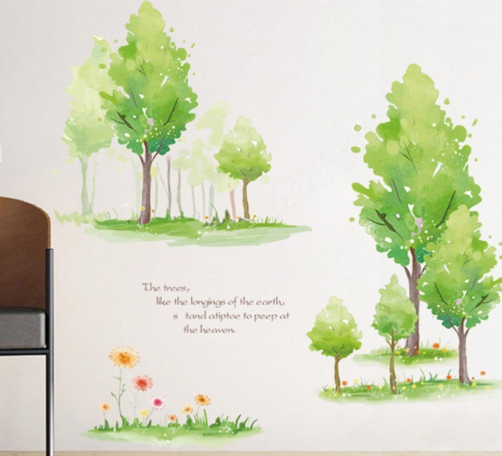 BIBITIME Green Forest Wall Art Quotes Signs Tree Flower Vinyl Sticker for  Living Room Background Decorations PVC Decor Mural DIY 36 61