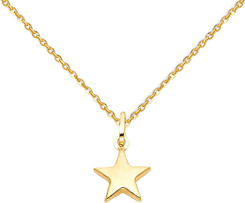 34 Inch Length 14K Gold Star Diamond Pendant Heart Pendant
