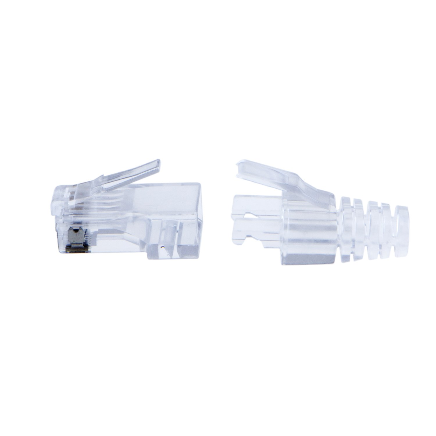 Cablecreation 100 Pack Cat 6 Rj45 Plug With Hood 6e Modular Jack Connector To Wiring Harness For Transparent Computers Accessories