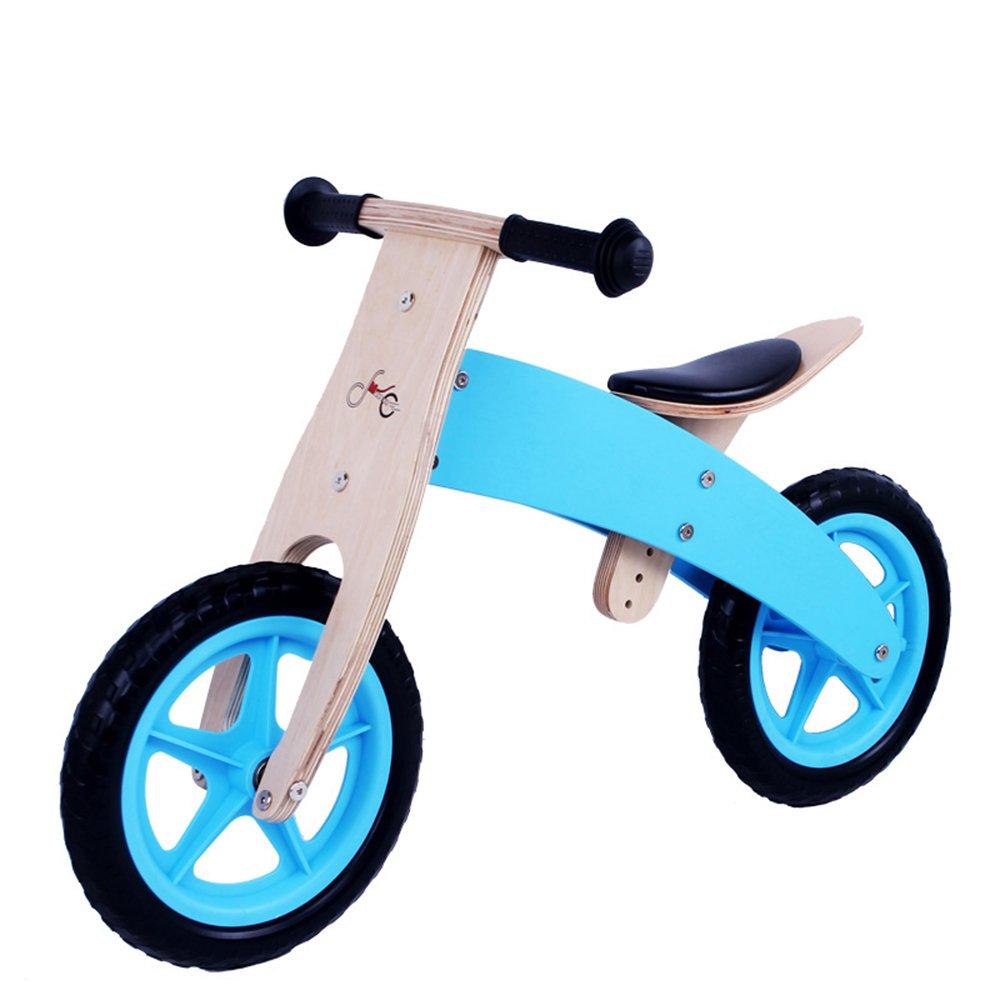 YANGFEI 子ども用自転車 木製幼児バランシングカー、ベビーウォーキングスクーター、木製スライド、子供用自転車 212歳 B07DWT6PN8 青 青
