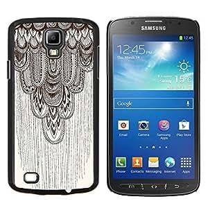 EJOOY---Cubierta de la caja de protección para la piel dura ** Samsung Galaxy S4 Active i9295 ** --lápiz del arte gráfico del modelo de color beige de plumas