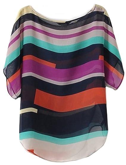 VOBAGA Mujeres Corto Mangas Del Palo Camiseta Remata Blusa Small Multicolor