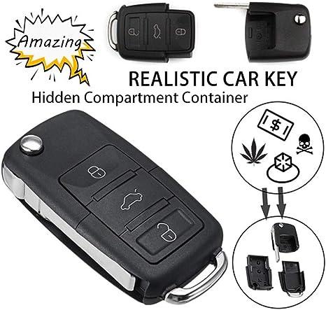 YSHtanj color negro Compartimento para llaves de coche con sistema de encendido y funda para llave de coche port/átil con compartimiento de seguridad y caja de almacenamiento hueca secreta