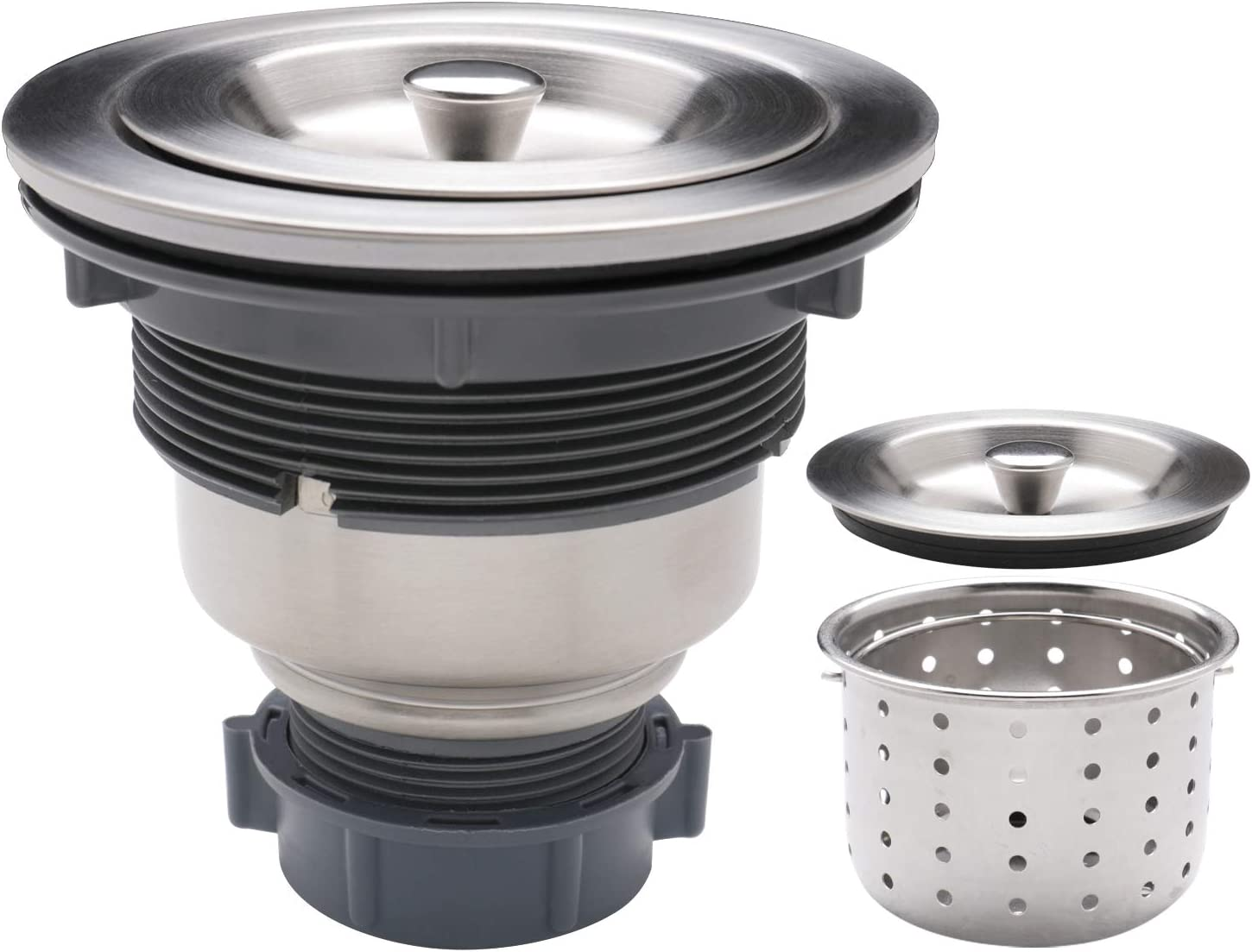Enbol SS-1 Kitchen Sink Strainer, 3-1/2-inch Sink Drain Strainer Assembly with Removable Deep Waste Basket, Sealing Lid, Stainless Steel
