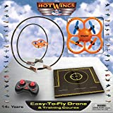 Hot Wings Easy-to-Fly Training Course Remote Control Drone, Orange Die Cast Model Airplane with Connectible Runway, Orange/Black