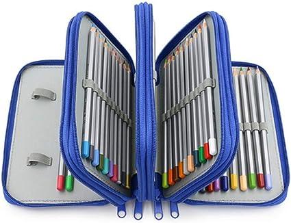 Kaptin estuche para lápices con 75 ranuras, gran capacidad para guardar lápices, bolígrafos de gel, rotuladores, pinceles, color azul: Amazon.es: Oficina y papelería