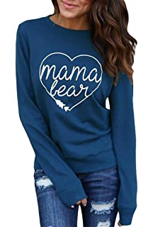 aa17ecb2fd04 JINTING Women Casual Mama Bear Print Long Sleeve Round Neck T-Shirt Top  Blouse