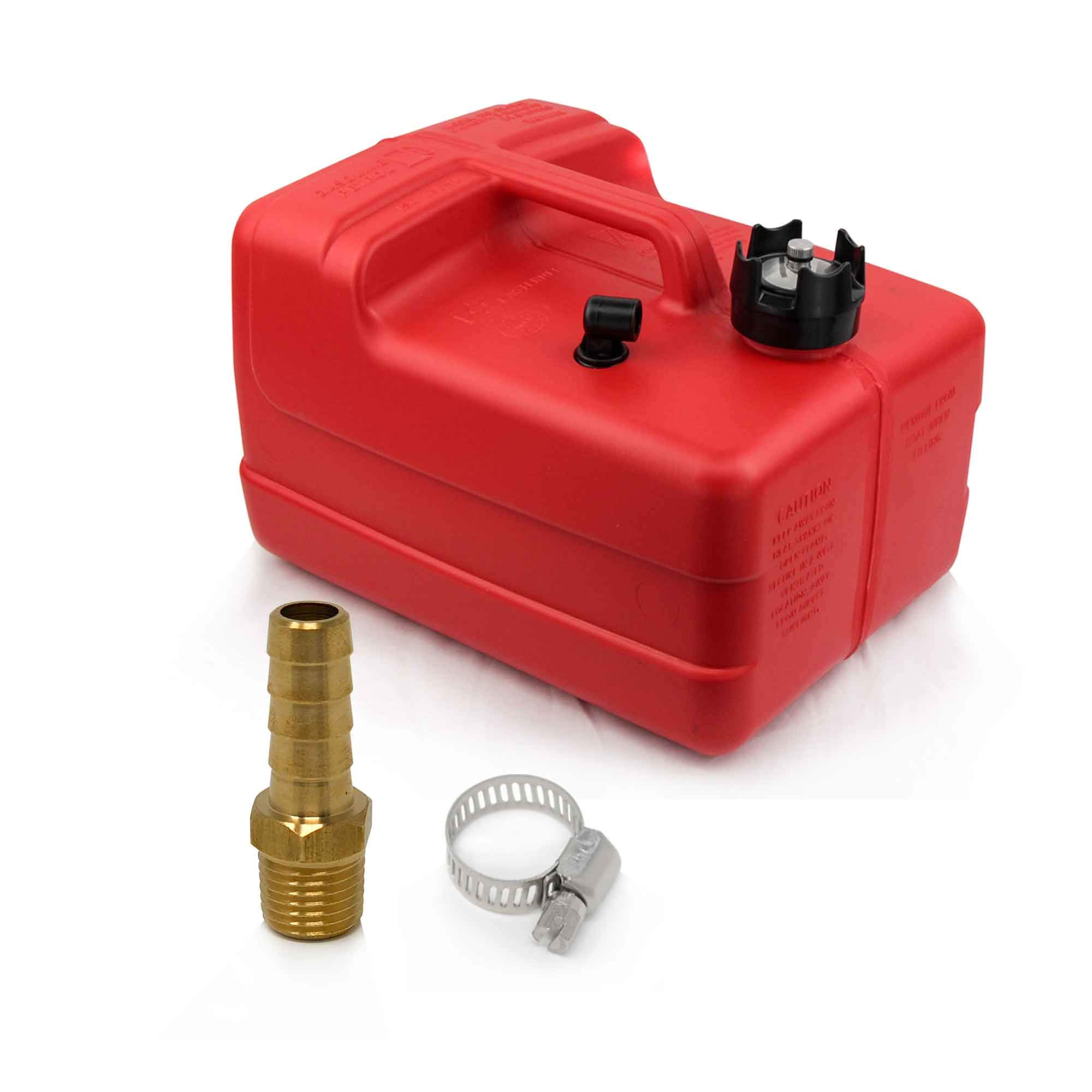 FIVE OCEANS 3 Gallon Fuel Tank/Portable Kit w/Universal Brass Fuel Hose Barb (1/4'' NPT Thread x 3/8'' Hose) FO-4129-C6 by FIVE OCEANS