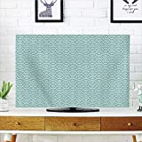 LCD TV Cover Multi Style,Aqua,Curvy Lines Bubbles in High Seas Surfing Season Water Sports Oceanic Summertime,Sky Blue White,Customizable Design Compatible 32'' TV