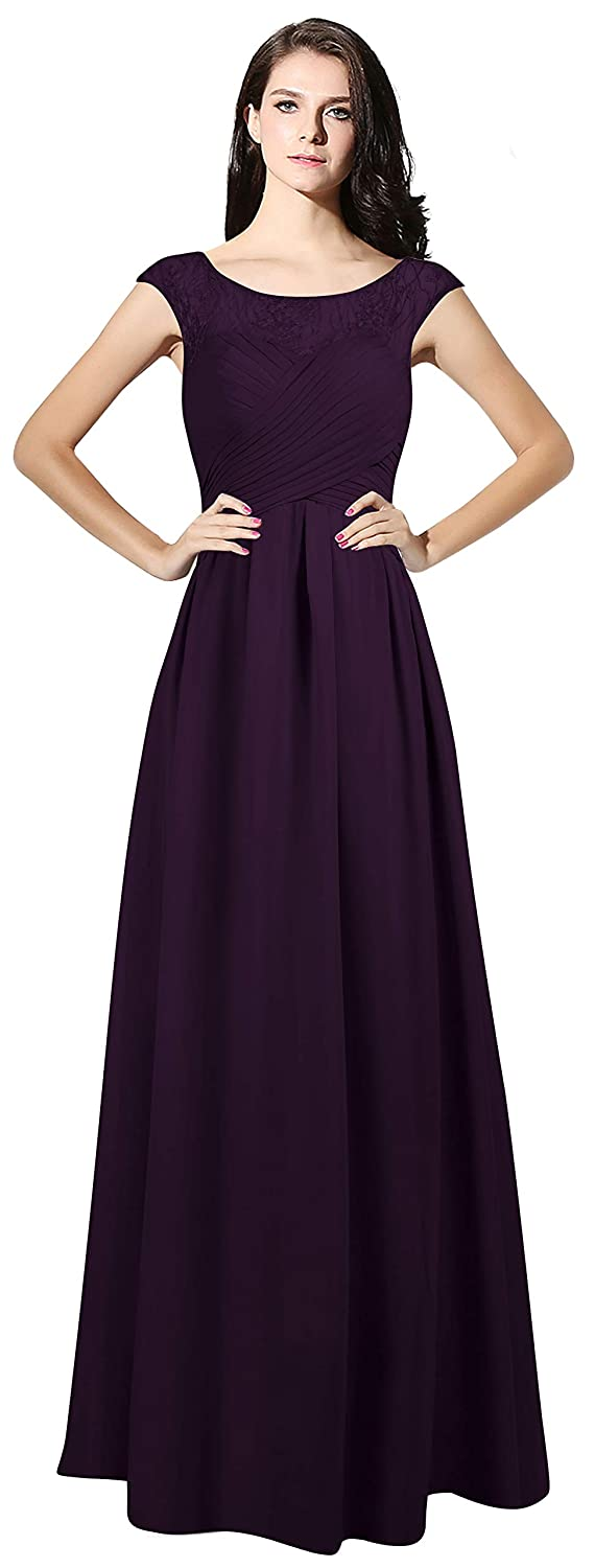 Dark Plum CladiyaDress Women Sheer Neck Cap Sleeves Long Evening Dress Bridesmaid Gowns C067LF