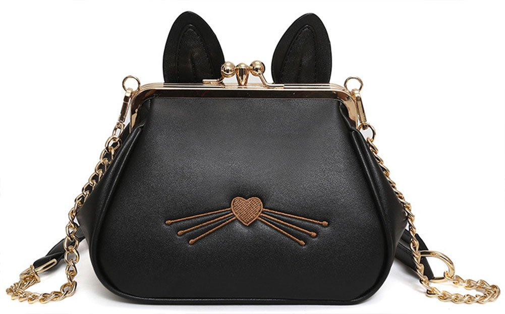 QZUnique Women's PU Satchel Cute Cat Ears Wallet Cross Body Shoulder Bag Tote Handbag Black