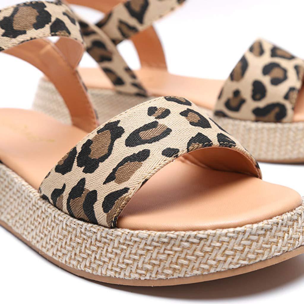 Orangeskycn Women Sandals Ladies Summer Leopard Print Thick Bottom Buckle Strap Solid Color Flat Causal Sandals Plus Size Brown by Orangeskycn Women Sandals (Image #6)