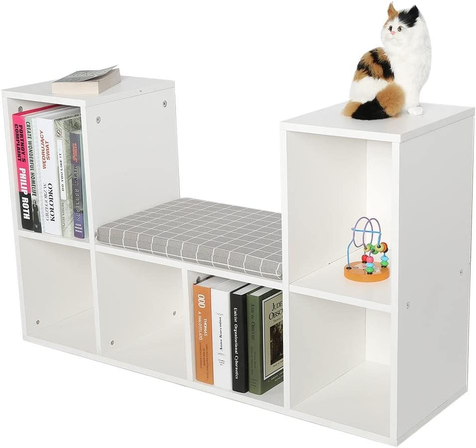 Zerone Cube Storage Organizer Bookcase,Multi-Functional Wooden Storage Shelf Bookshelf Bookcase with Reading Nook Holder Decor Rooms White