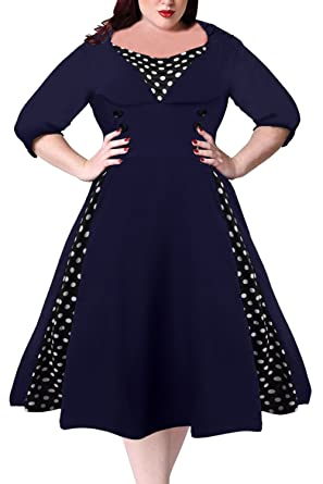 Nemidor Womens Half Sleeves 1950s Vintage Style Plus Size Swing