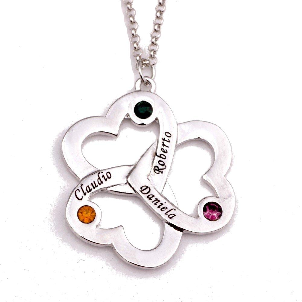 L& D Collier Triple Coeur Trèfle 3 Prénoms Argenté + Coffret Cadeau