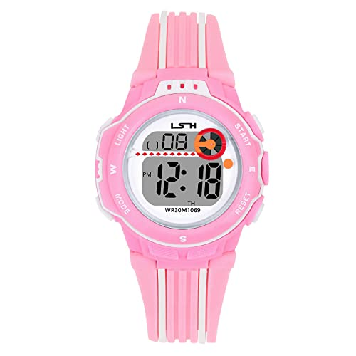 Kids Watch for Boys Girls,Sports Outdoor 3ATM Waterproof Wristwatch Best Gift for with Alarm/Timer/LED Light/Dual Time Zone/Chronograph(Black/Pink/Blue/Green/Light Green)