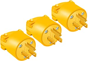 STARELO Electrical Replacement Plug Extension Cord End Yellow Shell 125V 15A 2Pole 3Wire NEMA 5-15P Industrial Grade 3-Prong Straight Blade Grounding Type(3)