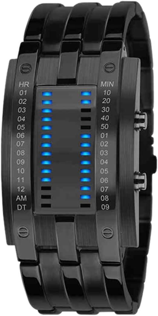 Reloj de pulsera para hombre, binario, a prueba de golpes, militar, correa de acero inoxidable, con 28 luces LED para la fecha y la hora