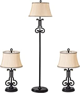 GZBtech Farmhouse Table & Floor Lamp Set of 3, Dark Brown 3 Pieces Lamps with Sturdy Metal Base & Violin Shape Shank, 110V Rustic Living Room Lamps Linen Shade for End Tables Desk, 63'' ETL Listed