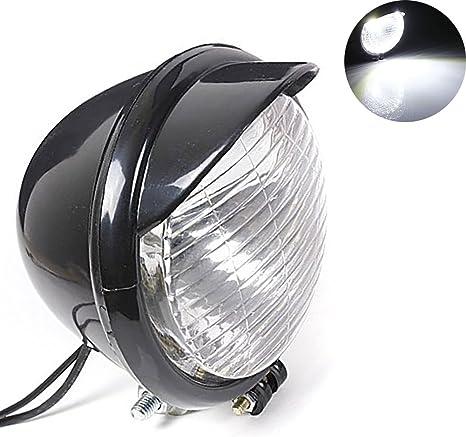 Moto LED Faro Fanale Luci Lampada Anteriori Per Harley Bobber Chopper Softail Springer Nera Ambra