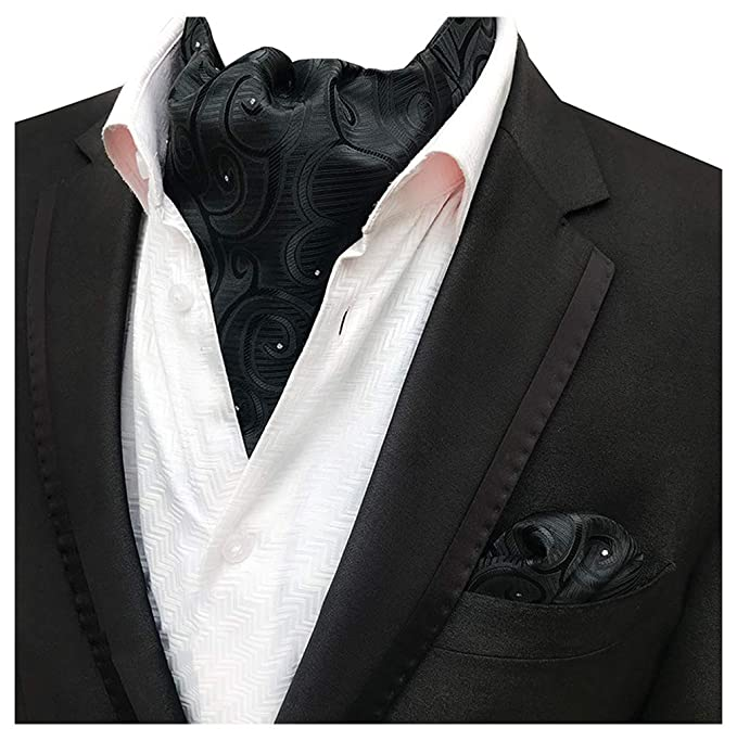 65450d1ac796 MOHSLEE Men Black Floral Ascot Woven 100% Silk Cravat Neckties Pocket  Square Set