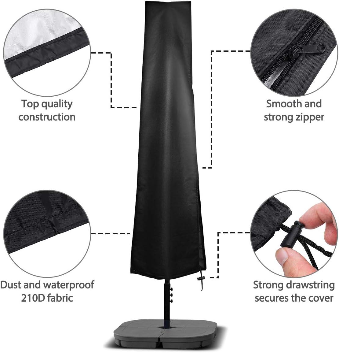 Copertura Telesc/ópica de Paraguas en Tela Impermeable Oxford 210D para Di/ámetros de 2m-4m con Cubierta de Poste Telesc/ópico 190 x 30//50cm NASUM Funda Protectora para Sombrillas Negro