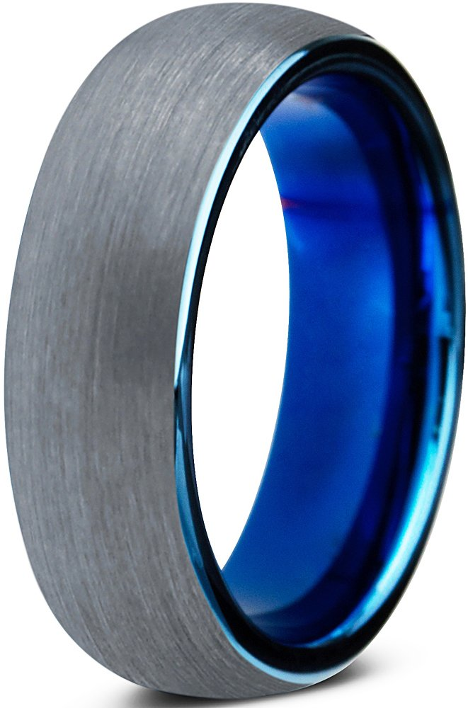 Charming Jewelers Tungsten Wedding Band Ring 6mm for Men Women Comfort Fit Blue Round Domed Brushed Size 8