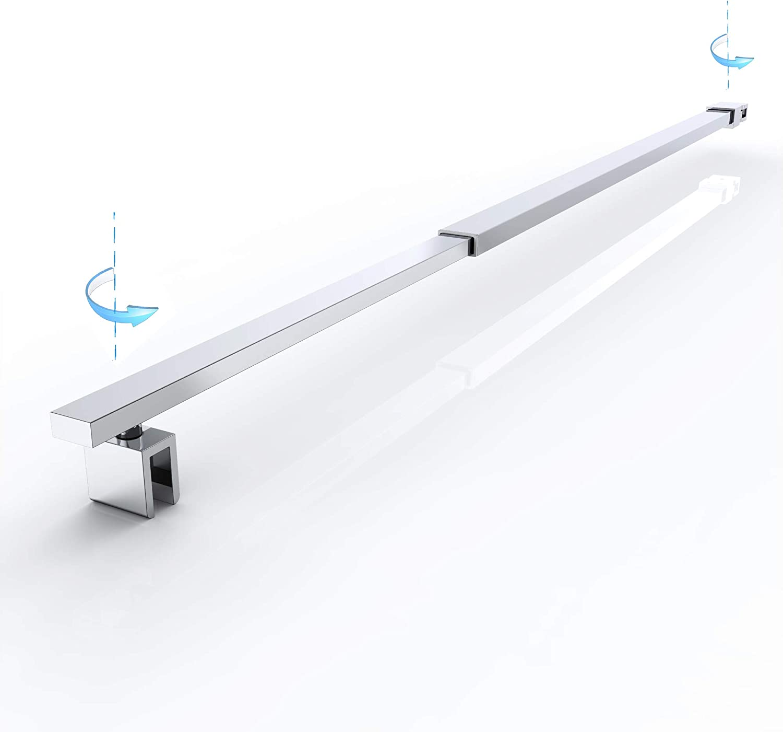 Haltestange f/ür Duschw/ände Dusche Duschabtrennung Rechteckig Stabilisator Edelstahl Verstellung 700-1200 mm Glasst/ärken 6-10 mm GS23Flex