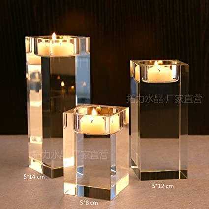 Amazoncom Aqumotic Pcc Candlestick Holders Set Crystal Glass - Restaurant candle holders for table