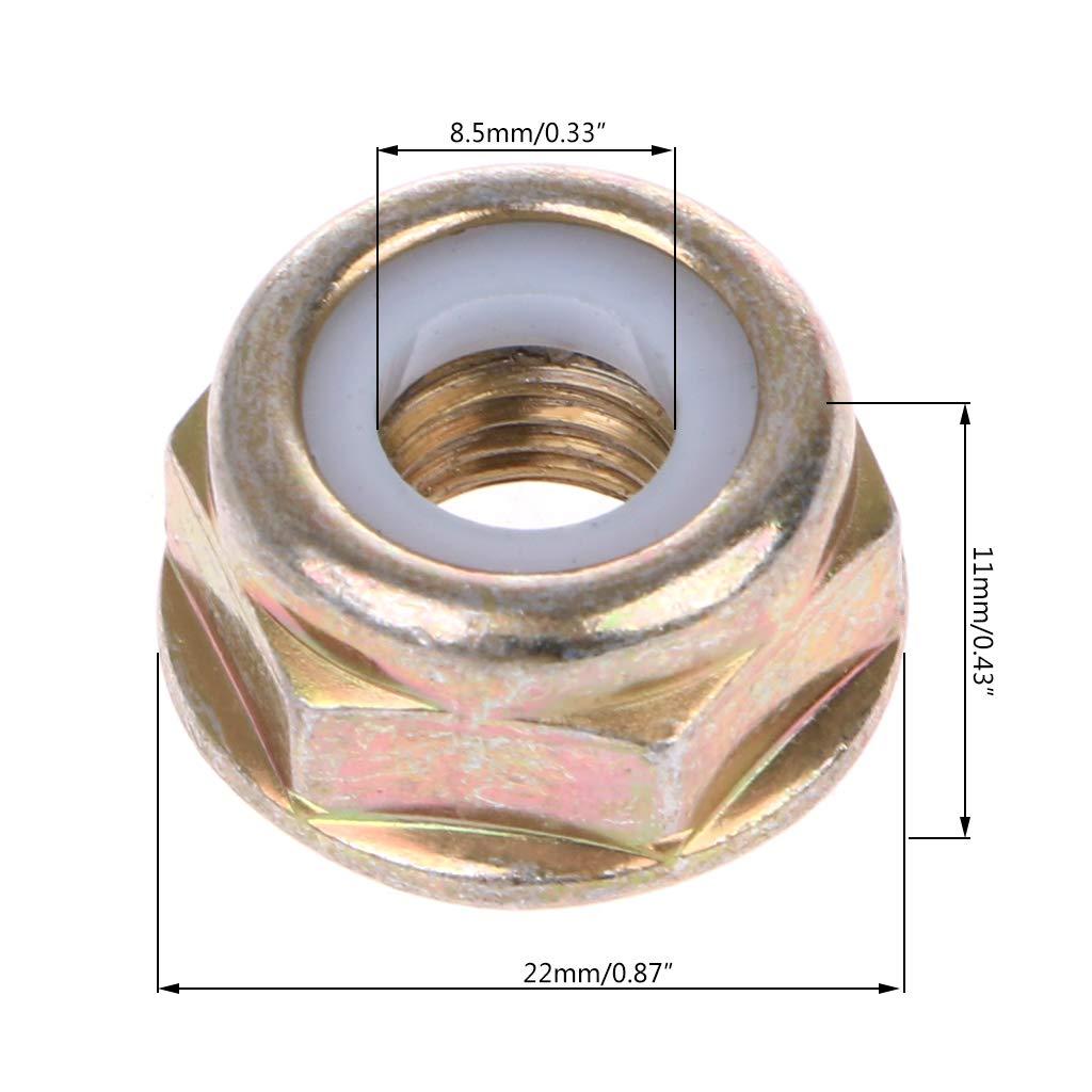 JOYKK - Recortadora Universal de 5 Piezas Strimmer Desbrozadora Rosca de Mano Izquierda Tuerca de la Hoja de reemplazo - Dorado y Blanco