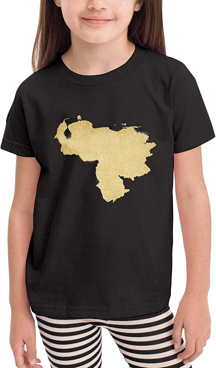 CERTONGCXTS Little Boys Venezuela Map Gold Cotton Short Sleeve Tee Shirt Size 2-6